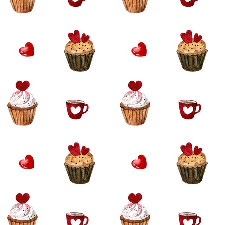 Seamless pattern with capcakes, cup and herrts on white background Watercolor illustration