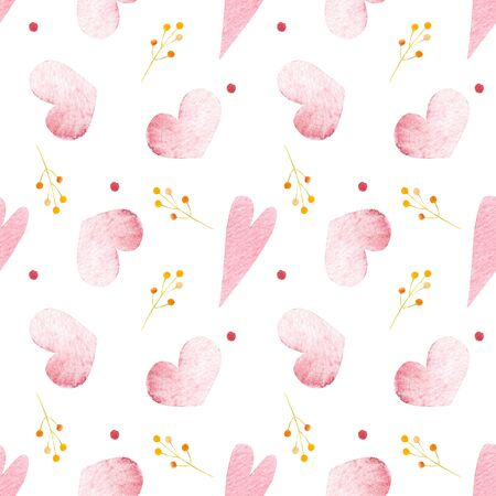 Seamless pattern with hearts and herbs on white background Watercolor illustration. Valentines day 写真素材