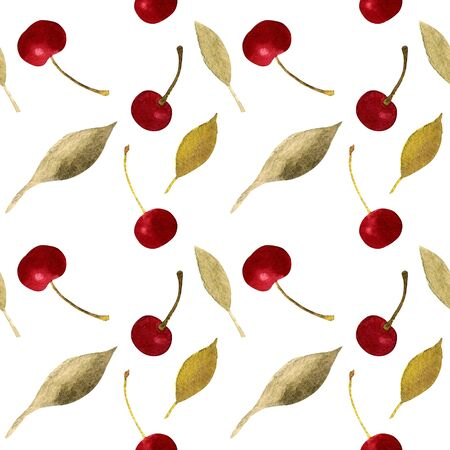 Seamless pattern with cherry and leaves Watercolor illustration