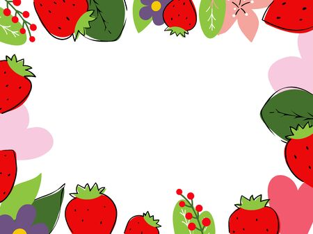 Vector illustration with frame of strawberries and herbs