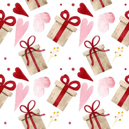 Seamless pattern with gift and hearts on white background Watercolor illustration