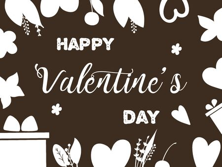 Valentines day with hearts on brown background. Eps10