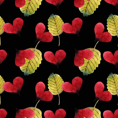 Seamless pattern with hearts and leaves on black background Watercolor illustration.