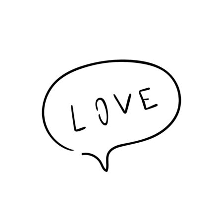 Speech bubble with dialog word love. Dialog text on white background