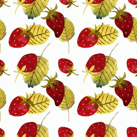 Seamless pattern with strawberry and leaves on white background Watercolor illustration.