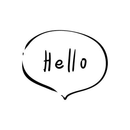 Hello icon message bubble. Vector illustration. Dialog text on white background. Text Hello sign
