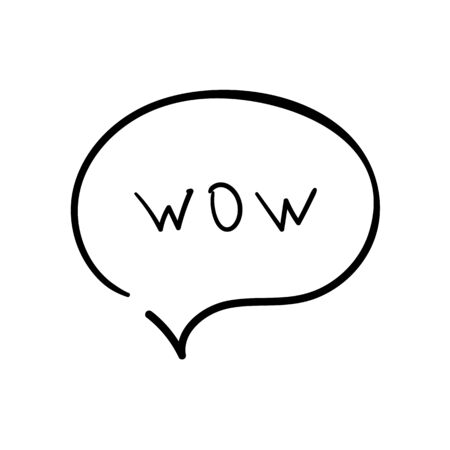 Speech bubble with text wow. Dialog text on white background  イラスト・ベクター素材