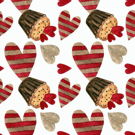 Seamless pattern with capcakes, hearts on white background Watercolor illustration