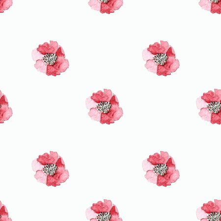 Seamless pattern with flowers on white background Watercolor illustration