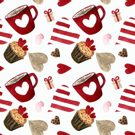 Seamless pattern with capcakes, cup and hearts on white background Watercolor illustration