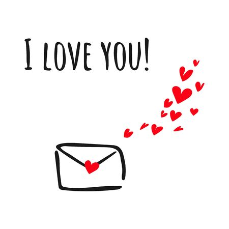 Vector illustration with envelope and hearts on white background. Valentines Day Greetings.  イラスト・ベクター素材
