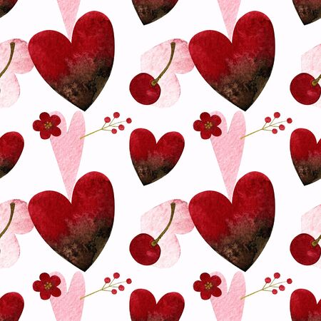 Seamless pattern with hearts and berries on white background Watercolor illustration. Valentines day 写真素材