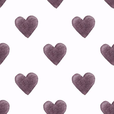 Seamless pattern with hearts on white background Watercolor illustration. Valentines day 写真素材