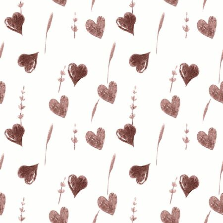 Seamless pattern with hearts, herbs and lavender on white background Watercolor illustration 写真素材