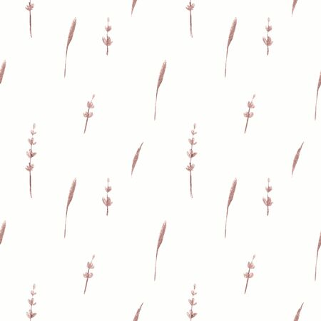 Seamless pattern with herbs and lavender on white background Watercolor illustration 写真素材