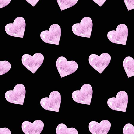 Seamless pattern with hearts on black background Watercolor illustration. Valentines day 写真素材