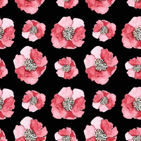 Seamless pattern with flowers on black background Watercolor illustration