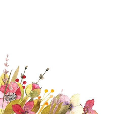 Watercolor illustration with hearts, leaves, flowers,berries. Happy Valentines Day.