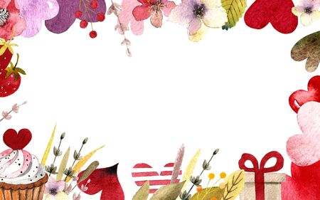 Hand draw template with hearts, leaves, herbs, lavender. Watercolor illustration
