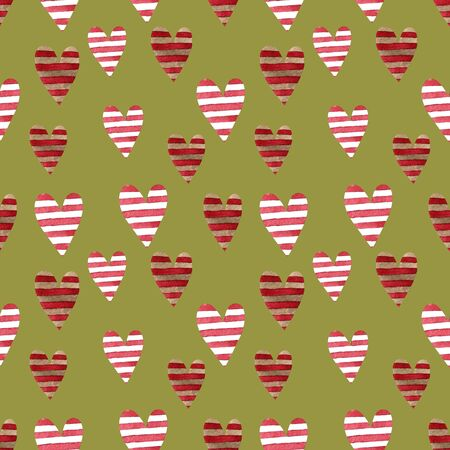 Seamless pattern with hearts on green background Watercolor illustration. Valentines day