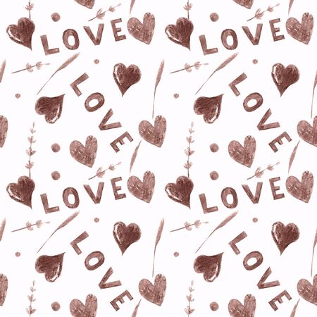 Seamless pattern with hearts, herbs,lavender and text love on white background Watercolor illustration 写真素材