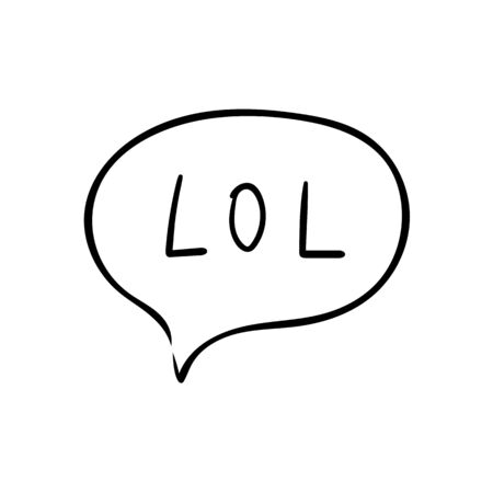 Speech bubble with text lol on white background