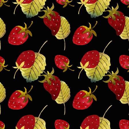 Seamless pattern with strawberry and leaves on black background Watercolor illustration.