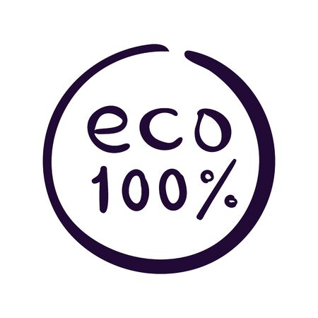 Eco 100 percent vector icon. Ecology label on white background 写真素材