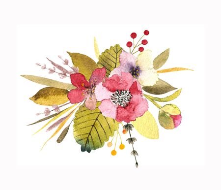 Flower composition with flowers, leaves, herbs. Template for invitation card, print. 写真素材