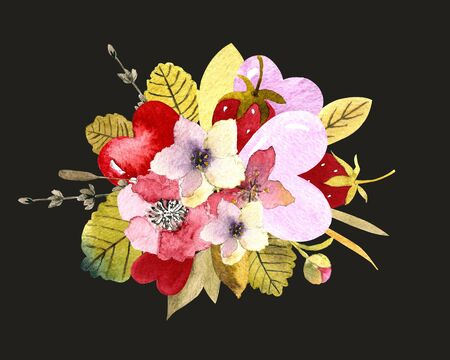 Flower composition with heats on dark background. Template for invitation card, print. Watercolor illustration
