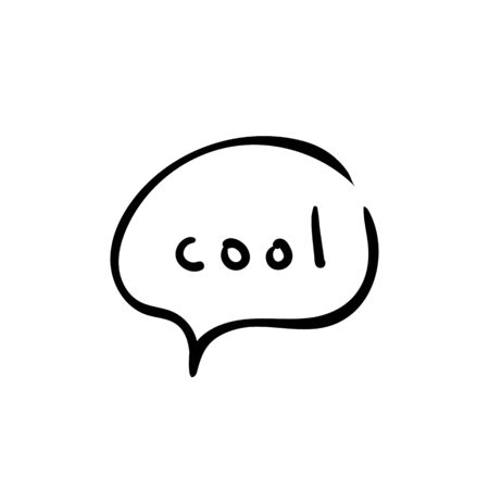 Speech bubble on white background with word cool