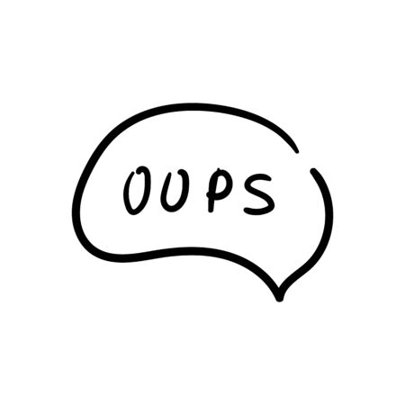 Speech bubble with oops text icon design. Black oops text icon in trendy outline style design. Vector illustration.