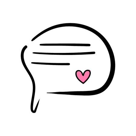 Speech bubble with heart on white background