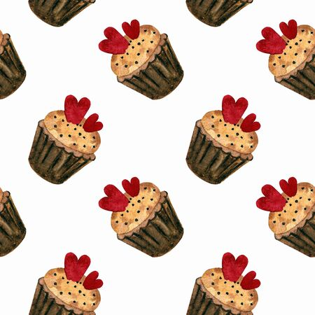 Seamless pattern with heart and capcake. Hand draw