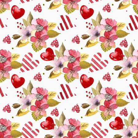 Watercolor flowers seamless pattern.Bright colors watercolor botanical elements