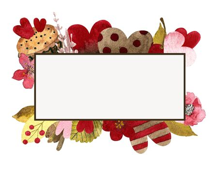 Hand draw template with hearts, flowers, leaves, capcake. Postcard for Valentines day with watercolor hand drawn. 写真素材