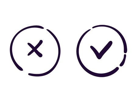 OK and cancel icon vector web button  イラスト・ベクター素材