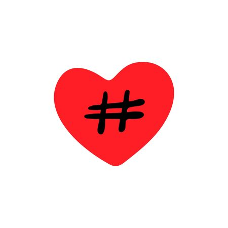 Red heart icon and hashtag on a white background,