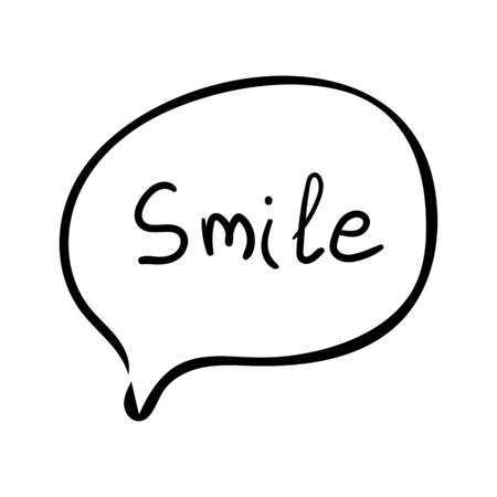 Speech bubble with text smile. Dialog text on white background  イラスト・ベクター素材