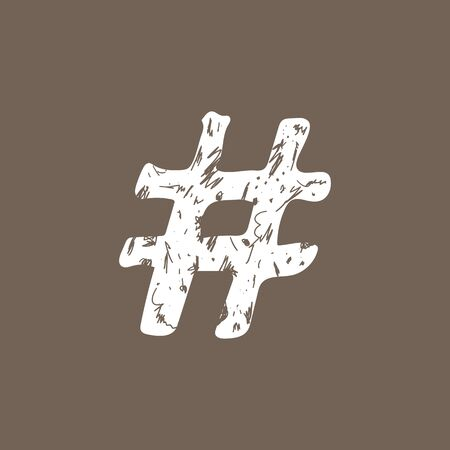 White hashtag sign icon Vector illustration on gray bacground