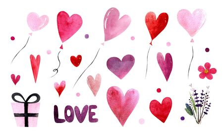 Elements for valentines day. Watercolor illustration with balloons, hearts,leaves and herbs. word love,gift. Happy