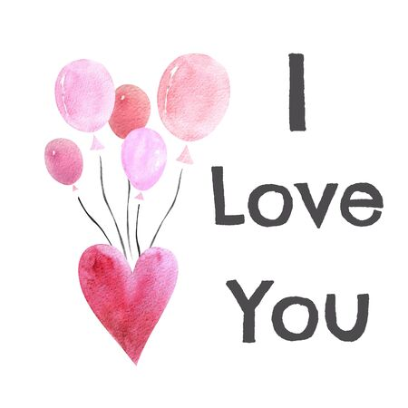 Watercolor illustration with balloons,heart and text i love you. Happy Valentines Day. 写真素材