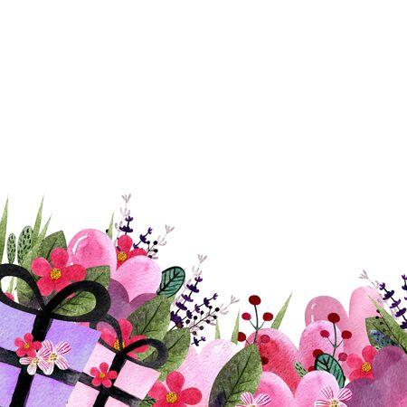Happy Valentines Day illustration. Watercolor illustration