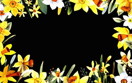 Yellow and white daffodils watercolor illustration on black background
