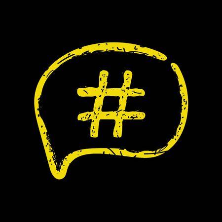 Hashtag sign icon Vector illustration on black bacground 向量圖像