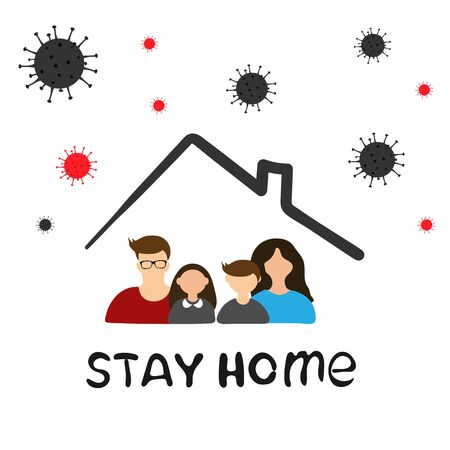 Family sitting home. Stay home during the coronavirus epidemic. Vector illustration in flat style