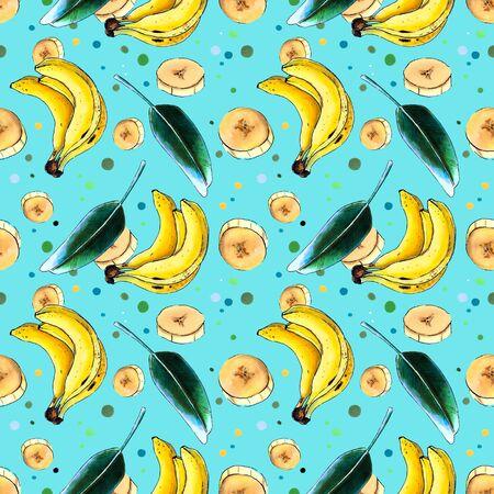 Bananas and leaf on blue background. Seamless pattern Banco de Imagens
