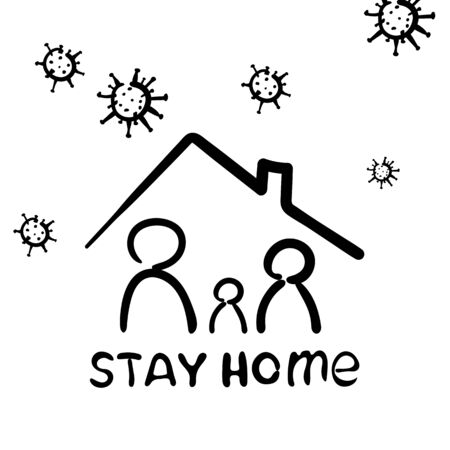 Family sitting home. Stay home during the coronavirus epidemic. Vector illustration. Outline icon