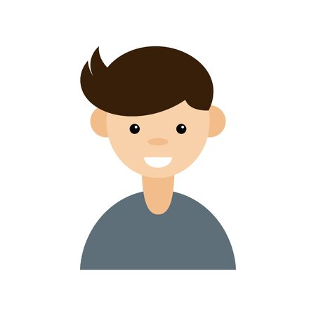 Cartoon portrait of a young man. Avatar character on white background. Vector illustration in a flat style. Eps10. Ilustração
