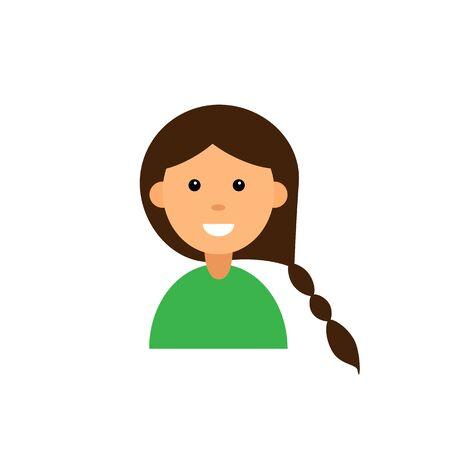 Cute cartoon character. Girl avatar on white background. Flat vector illustration. Eps10